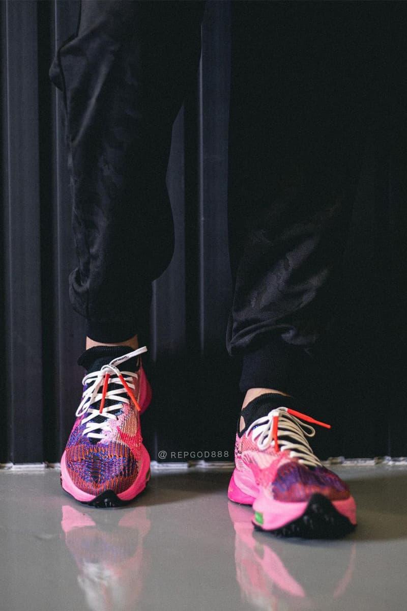 Off-White™ x Nike Air Zoom Tempo Next% FK 最新配色「Pink Glow」完整清晰圖輯
