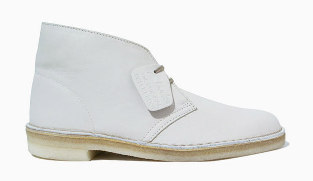 Clarks White Leather Desert Boots