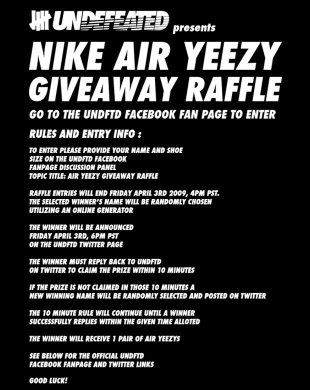 UNDFTD presents Nike Air Yeezy Giveaway Raffle | HYPEBEAST
