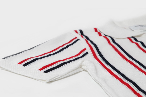 a22d4fb4 Thom Browne Knitted Stripe Polo Shirt   HYPEBEAST