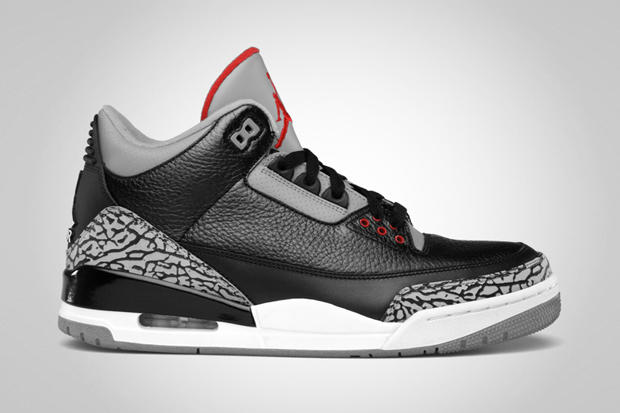 Air Jordan 3 Retro Black Varsity Red-Cement Grey  c2cedc2c30