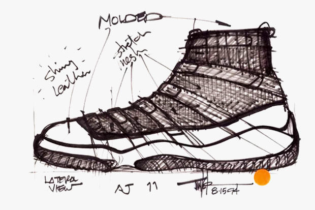Air Jordan XI Original Sketches By Tinker Hatfield  3bbc16d100c4