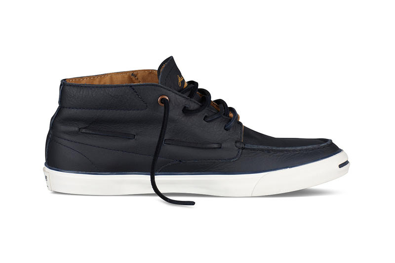 Converse Jack Purcell Mid-Top Navy Leather Boat Shoe  a169794c04b6