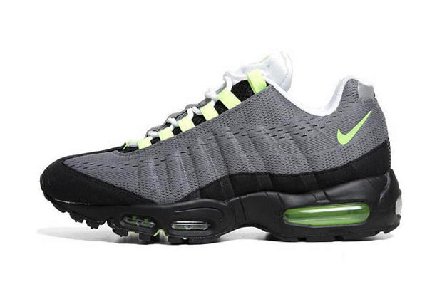 "new concept 69fc8 6bb4a Pictured here is the Nike Air Max 95 EM in the classic ""Cool Grey Volt  Black"" colorway, new for"