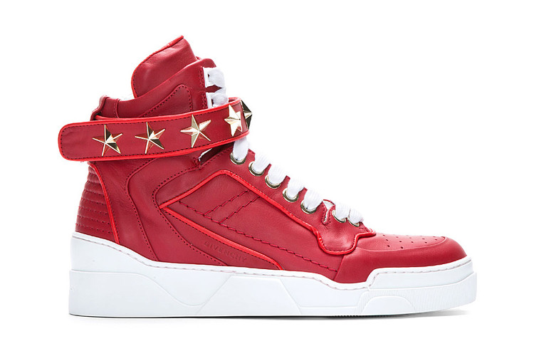 1327e1ddf5c111 Givenchy Red Leather Star-Detail Sneaker