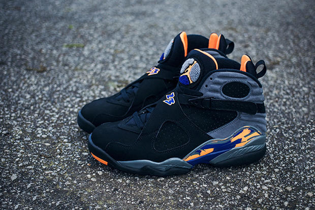 low priced 11e14 d1285 Air Jordan 8 Retro Black Bright Citrus-Cool Grey-Deep Royal