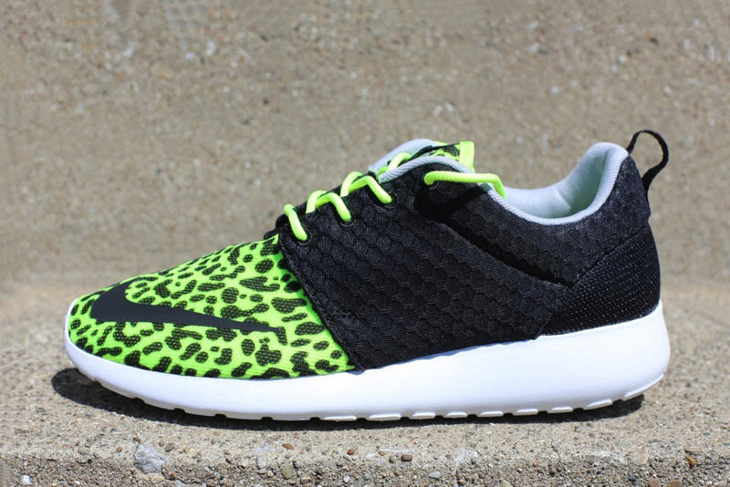 """543725a49b31 A combination of sorts that utilizes the """"Orange Leopard"""" Roshe Run FB s  leopard-spotted toe box"""