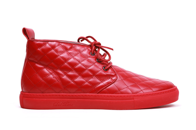 f27a00dc97 Del Toro Red Quilted Nappa Leather Alto Chukka Sneaker