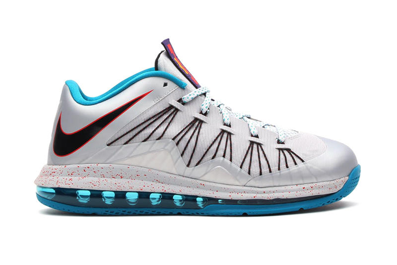competitive price df6a4 a6c79 Nike Air Max LeBron X Low Metallic Platinum Black-Tropical Teal