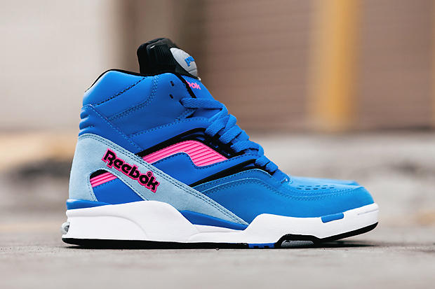 The Reebok Twilight Zone Pump is back this season in a bold pink and blue  colorway. Made famous by 425e22a1e