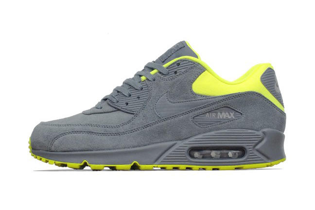 reputable site b7d5c 996d4 Nike Air Max 90 Premium Dark Grey Volt-Medium Grey. Following the template  offered up by the Brave Blue Atomic Pink and Pale Grey Laser Orange