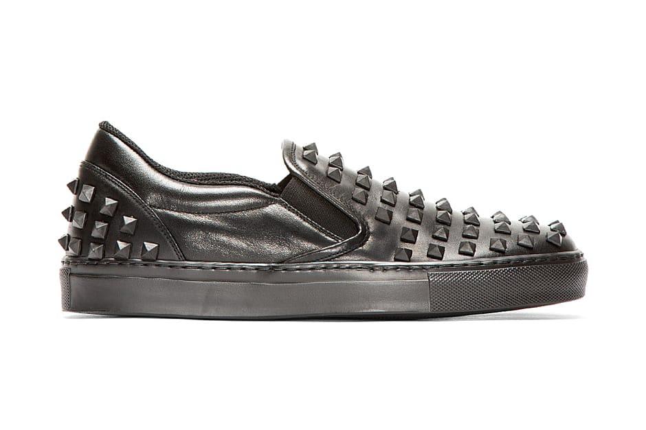 Valentino Black Leather Rubber Stud