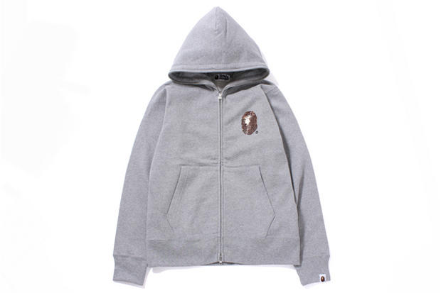 85f97c2d The latest from A Bathing Ape's sweater selection is the Swarovski LARGE  HEAD FULL ZIP HOODIE.