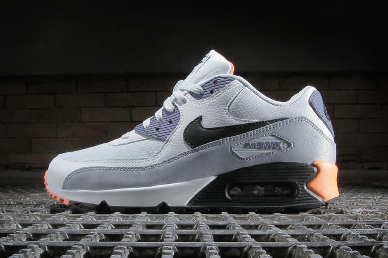 af0d0cbe78cf Nike Air Max 90 Essential Light Base Grey   Black–Iron Purple–Atomic Orange