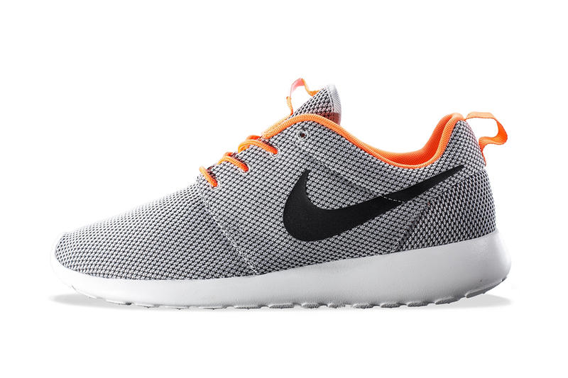5b728441362db Lined in orange and decked out in grey is this upcoming edition of Nike s  fan-favorite Roshe Run.