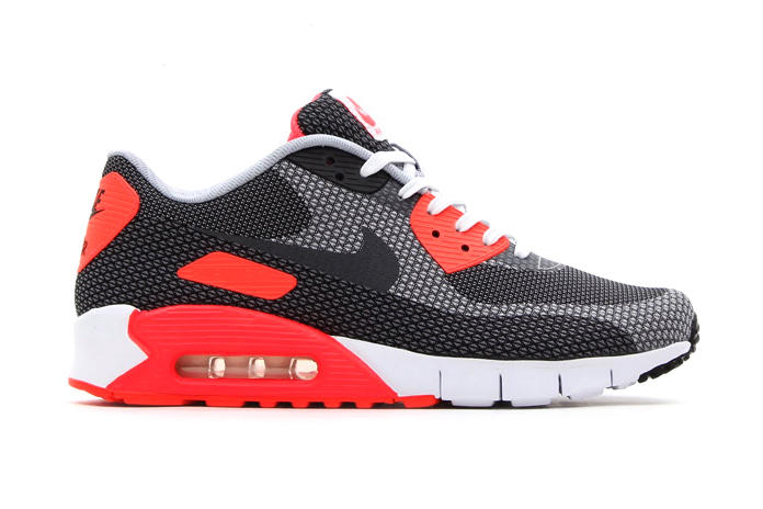 "818f1cac82 ... White/Cool Grey-Black-Infrared. Nike's beautiful, seamless ""Jacquard""  edition of the Air Max 90 has received the beloved Infrared"