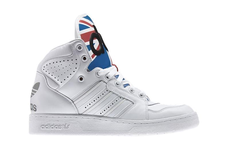 official photos ac9a9 d18c9 adidas Originals by Jeremy Scott Instinct High Union Jack  White Satellite Light Scarlett