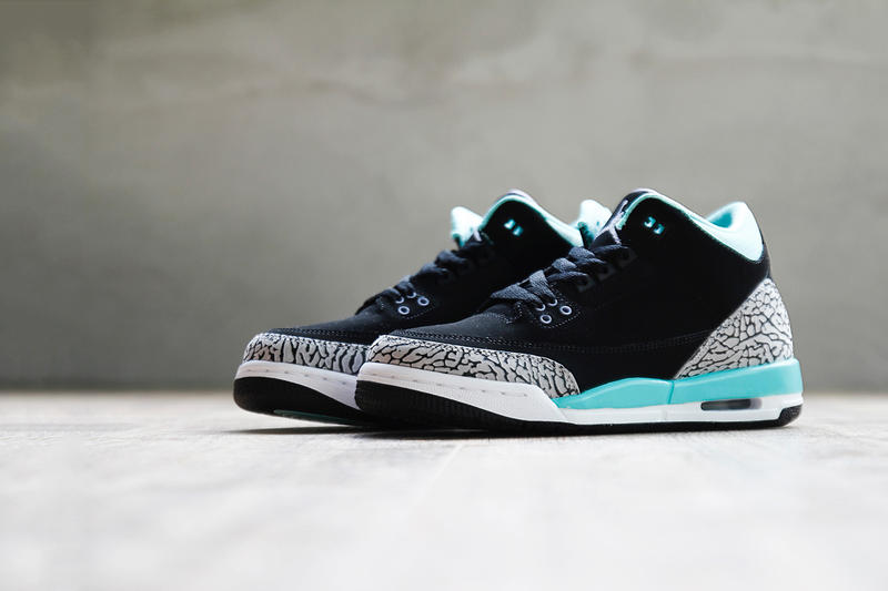 size 40 459c1 995ef Air Jordan 3 Retro GS Black Mint Green-Cement Grey