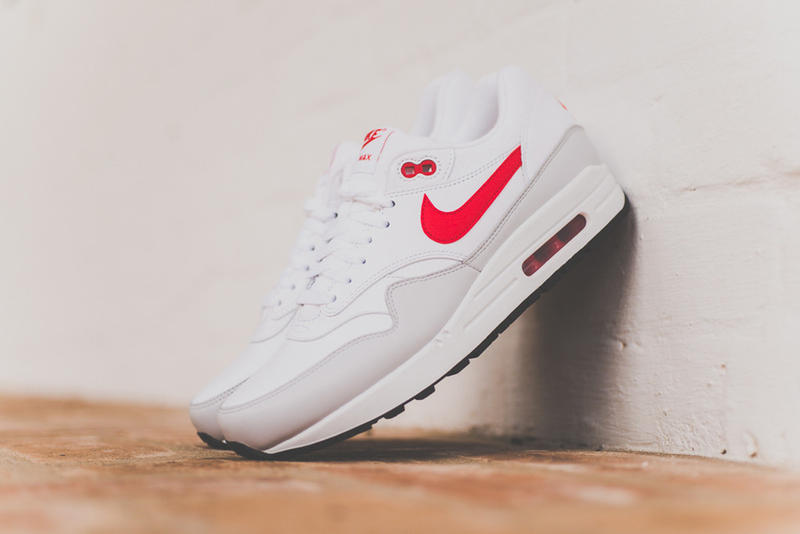 sale retailer 70f6a 30dd0 Nike Air Max 1 Leather White University Red