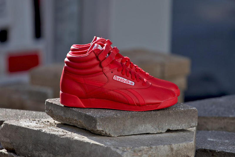 "77036a34d Reebok presents its classic Freestyle Hi SPIRIT silhouette in a bold  ""Excellent Red"" colorway for"