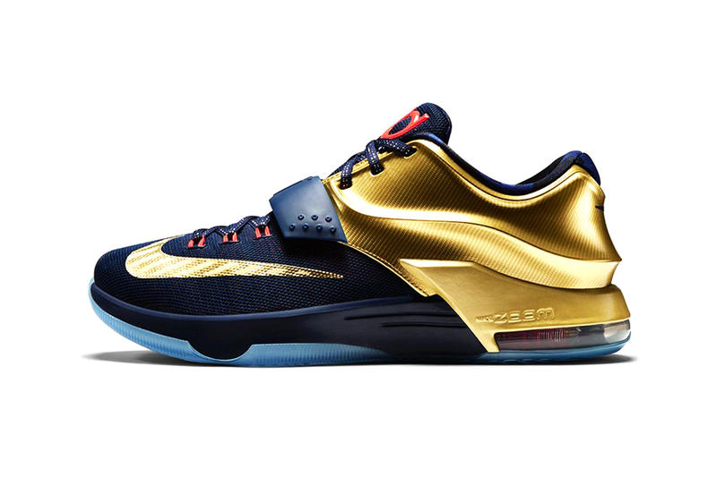 reputable site 1b4c9 b7230 Nike KD7 Premium Midnight Navy Bright Crimson-Metallic Gold. Inspired by  the golden hardware NBA superstar Kevin Durant has accumulated over the  course of ...