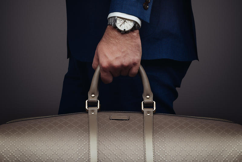 4c7fa6035956 Gucci Presents the G-Chrono Collection and Bright Diamante Leather Duffle