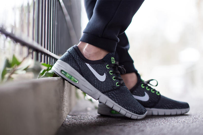 """61fb085397a ... Janoski Max Black Wolf Grey-Flash Lime. Fresh of the unveiling of the  military-inspired """"Dazzle"""" edition of the silhouette"""