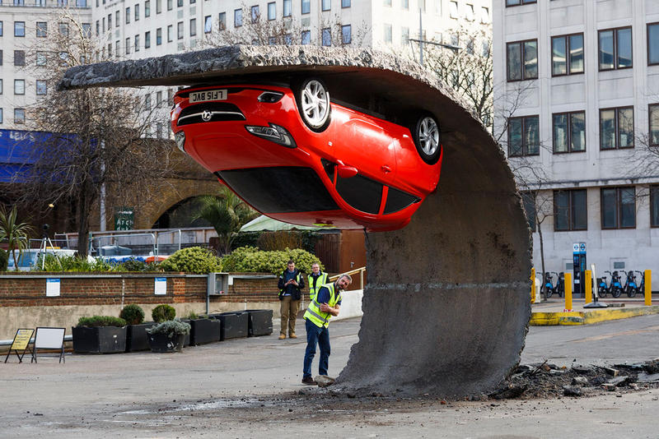 London Art Installation is an Upside Down Opel / Vauxhall Corsa Supermini