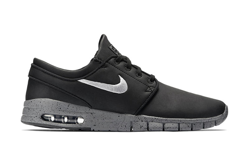 wholesale dealer 44a49 e44bb Nike SB Stefan Janoski Max Leather QS Black Metallic Cool Grey. Nike has  applied what is arguably the year s reigning shoe fad of leather detailing  to a ...