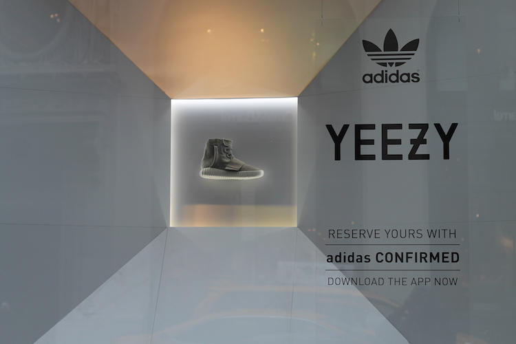 The adidas Yeezy 750 Boost is now showcased in the display window of the adidas  store in SoHo fcbea1e0dc98