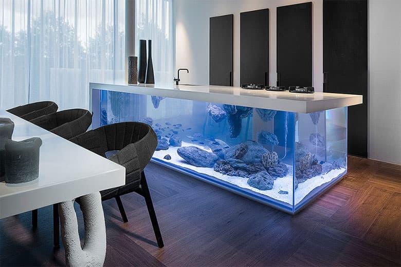 Robert Kolenik's Kitchen Island Doubles as a Lavish Aquarium