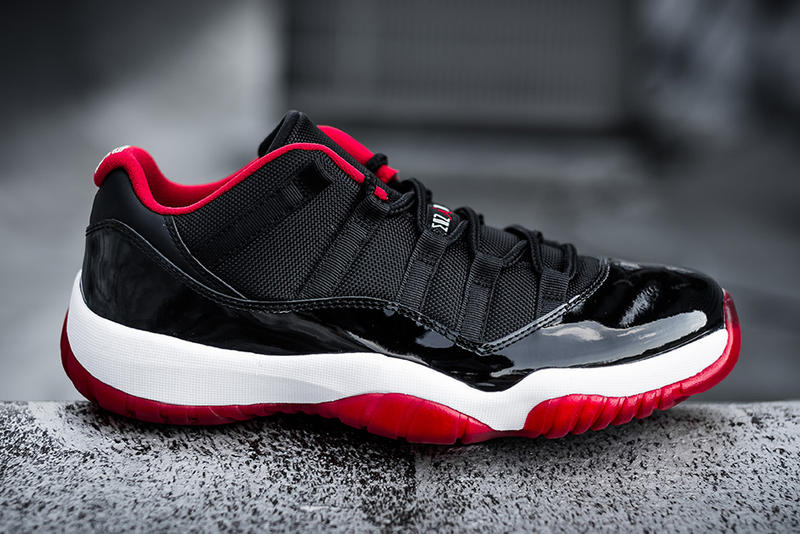 "96315d1ead9f The highly anticipated Air Jordan 11 Low ""Bred"" follows suit with Jordan  Brand s 30th anniversary"