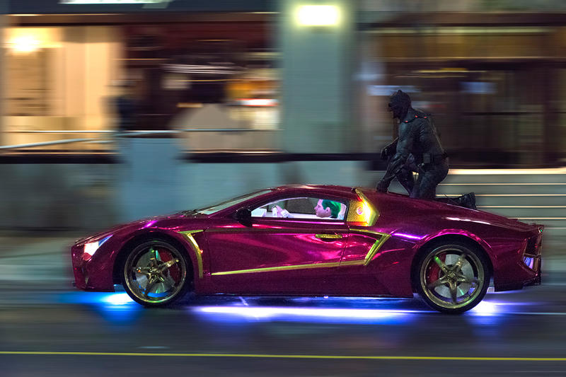 Batman Rides the Jokermobile During Filming of 'Suicide Squad' in Toronto
