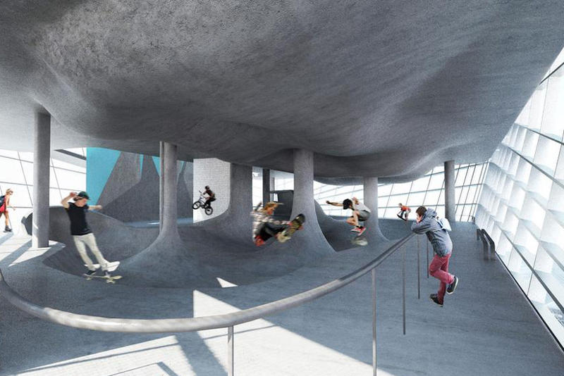 Guy Hollaway Architects Presents Plans for the World's First Multi-Storey Skatepark