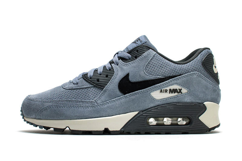 237ab3fc6ac5 Nike Air Max 90 Navy Blue Perforated Suede Sneakers