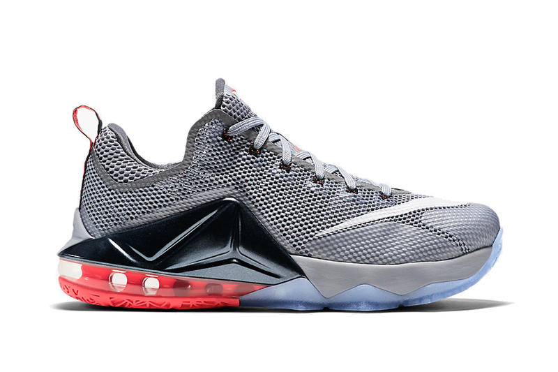 new product 91f85 fcbe5 Nike LeBron 12 Low Wolf Grey Black-Hot Lava