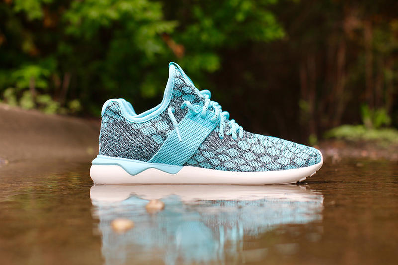meet dfc3e d044d The comfy Primeknit-constructed Tubular Runner gets a spicy blue colorway  from adidas Originals.