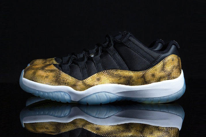 "fe0c70de0bb52f The iconic Air Jordan 11 Low receives a luxurious ""Golden Snake"" custom  update."