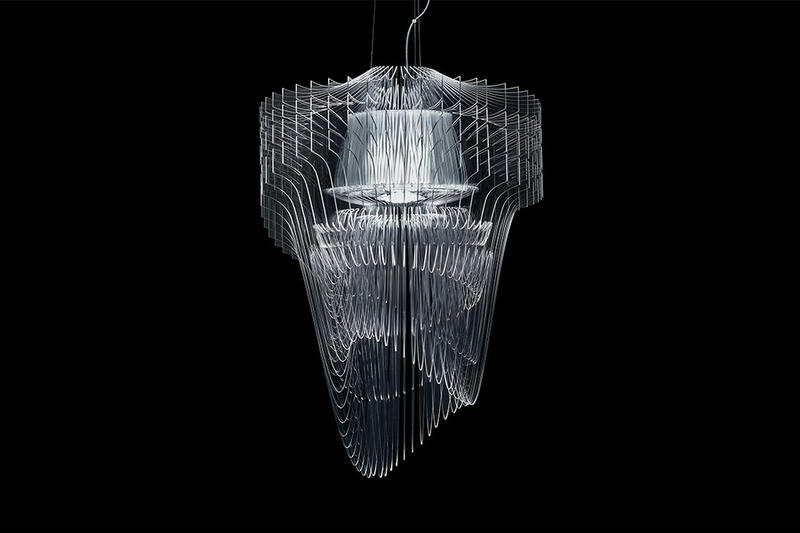 Zaha hadid designs the aria transparent chandelier for slamp renowned architect zaha hadid has lent her skills to italian design firm slamp and produced the mozeypictures Choice Image