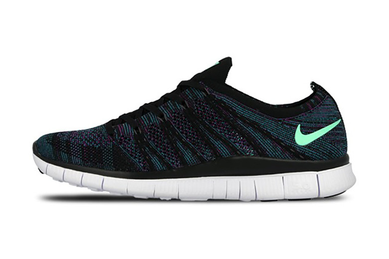 0f53251a91f2a Nike Free Flyknit NSW Black Green Glow-Radiant Emerald-Vivid Purple ...