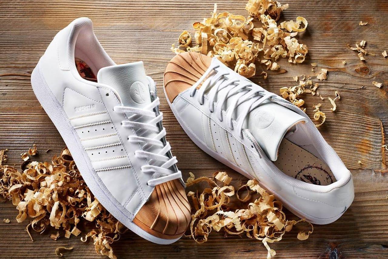 Wooden Shell Toe adidas Superstars in