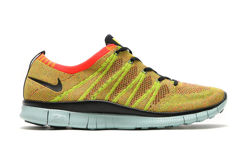 45e3f8574a63 Crimson and gold combine on the latest Free Flyknit NSW.
