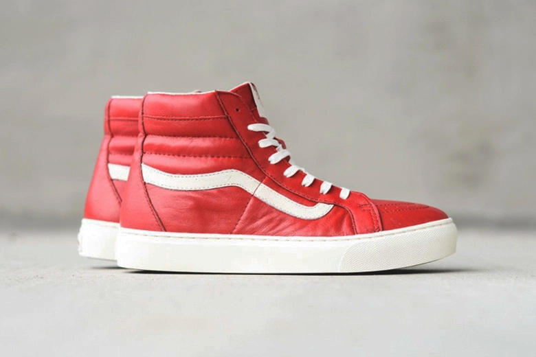 f5ef7f3588130f Red and blue colorways hit the cup sole-equipped Sk8-Hi.