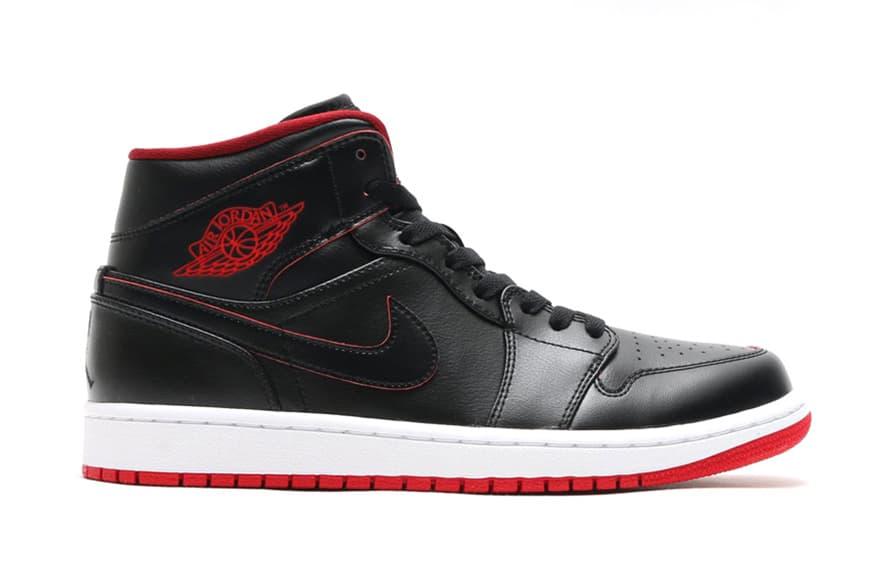Air Jordan 1 Mid Black/Black-White-Gym Red