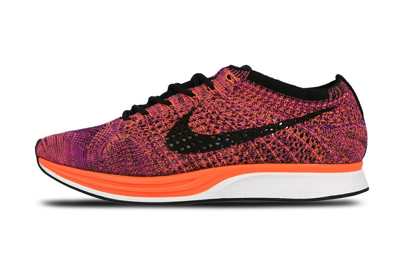 7b0a88fb9bdd Nike Flyknit Racer Black Hyper Orange Vivid Purple