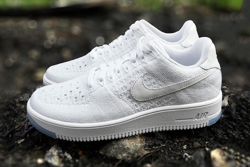 fb631d7741c42 A First Look at the Nike Air Force 1 Flyknit Low White/Ice. The low-top  hybrid will debut with an icy blue outsole.