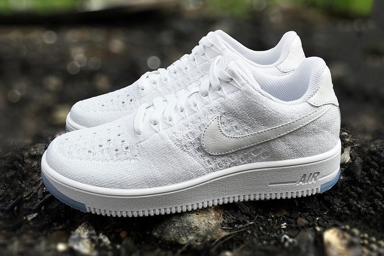 Atlas viceversa hecho  First Look Nike Air Force 1 Flyknit Low White/Ice Sneaker | HYPEBEAST