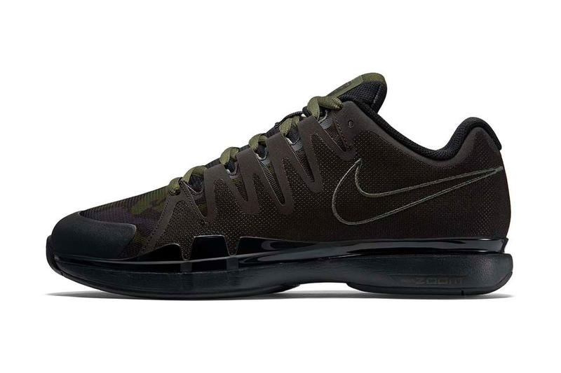 """a3e6bc83cfcc Camouflage decorates """"Carbon Green"""" and """"Squadron Blue"""" versions of Roger  Federer s kicks."""