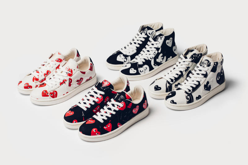COMME des GARÇONS PLAY x Converse Pro Leather Collection. The second  playful collaboration this year between the two iconic brands. cf7c8f57852a