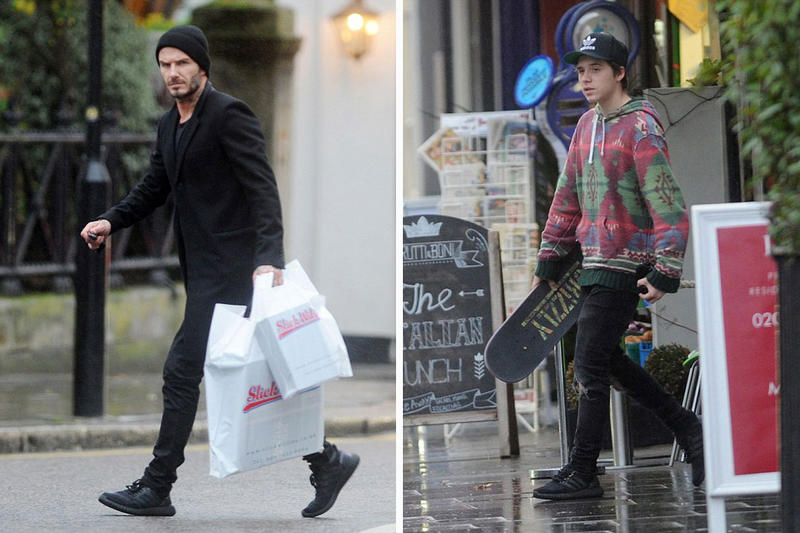 separation shoes b6897 7ffea ... Yeezy Ultra Boosts  Spotted on David and Brooklyn Beckham.
